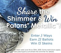Pin this & get the chance to win Paton's Metallic yarn. This is super soft & has a finish like the finest satin. So Pin it & get entered to WIN! Yarn Projects, Diy Projects To Try, Knitting Projects, Crochet Projects, Knitting Designs, Knitting Patterns, Crochet Patterns, Patons Yarn, Crochet Yarn