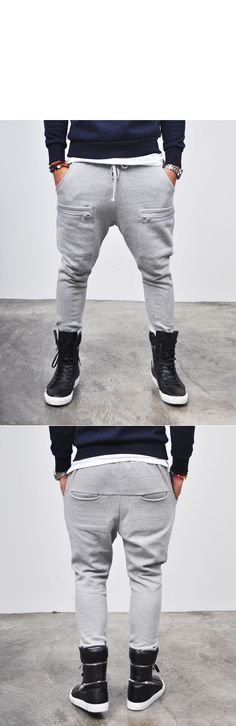 Bottoms :: Sweatpants :: Zippered Line Pocket Slim Baggy-Sweatpants 26 - Mens Fashion Clothing For An Attractive Guy Look