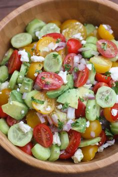 Tomato Cucumber Avocado Salad is the perfect EASY, light and fresh summer side dish.   Tastes Better From Scratch