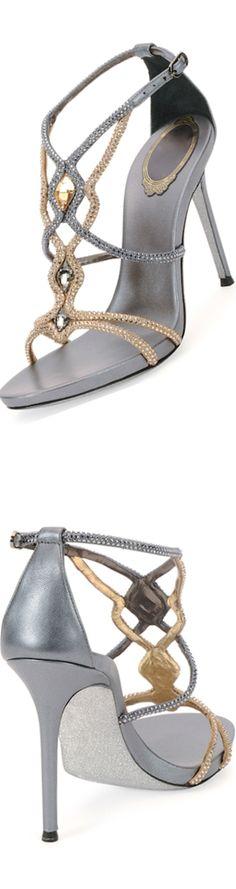 Rene Caovilla Two-Tone Jeweled Sandal