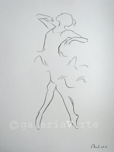 original charcoal drawing Ballet Dancer by galeriaVarte on Etsy
