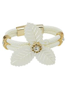 Mixed+Color+Gold+Plated+Big+Clover+Braided+Leather+Bracelet+4.43-SheIn