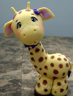 Thanks for being here This baby Giraffe was almost tall. Made with Cold Porcelain.this clay is beautifully soft, clean & very easy to . Fondant Giraffe, Giraffe Cakes, Safari Cakes, Fondant Animals, Polymer Clay Animals, Fimo Clay, Clay Projects, Clay Crafts, Fondant Toppers