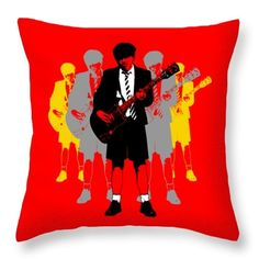 """Recently Sold -Throw Pillow - 18"""" x 18"""" of Angus Young to a buyer from Cohasset, MA - United States @fineartamerica @pixelscom  #fineartamerica #pixelscom #pillows #angusyoung #acdcfans #rockfans #rockart #guitarhero #red #homefurnishings #faa #comfy"""