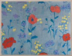 Paule Marrot's Poppies Mounted on Linen and Framed in Acrylic Box Framed Print on Archival Vellum  Paule Marrot was born in Bordeaux in 1902. At age fourteen she enrolled in Ecole Nationale Superericure des Arts Decoratifs in Paris, where she studied painting and printmaking under Eugene Morand. She considered the symbolist painter Maurice Dentsher her mentor and main source of inspiration. In 1928 she was awarded first prize for one of her textile designs. Marrot's designs were brought to…