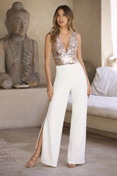 Cut with a super sexy plunge neckline, the rose gold and white brush-back sequin bodice on this dramatic split hem jumpsuit has a defining banded waist. Fully lined with hidde Dress Outfits, Fashion Dresses, Christmas Party Outfits, Dress The Population, Matches Fashion, Party Dresses For Women, Collar Dress, Holiday Fashion, Sequin Dress
