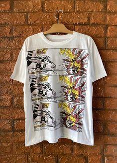 Vintage 80s Roy Lichtenstein Whaam Big Print 1963 | Etsy Roy Lichtenstein, Andy Warhol, Skateboard Logo, Skate T Shirts, Japanese Streetwear, King Of Fighters, Movie T Shirts, White Brand, M Color