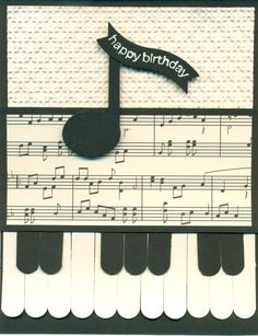 Word window (piano keys), sm oval punch and bitty banner framelit (for note), Happiest B'day Wishes (used part of sentiment that fits nicely in framelite), Houndstooth EF, Modern Medley DSP.: