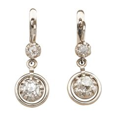 Details about  /0.50 Ct Round Cut Diamond Dangle Drop Earrings Solid 14K Yellow Gold Over