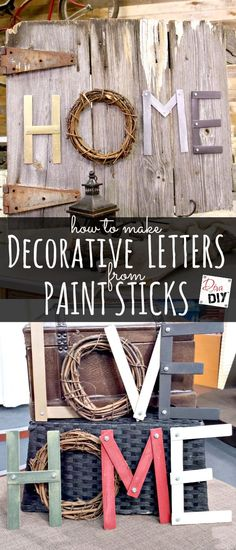 DIY Projects Made With Paint Sticks - Decorative Letters From Paint Sticks - Best Creative Crafts, Easy DYI Projects You Can Make With Paint Sticks From The Hardware Store - Cool Paint Stick Crafts and Furniture Project Tutorials - Crafty DIY Home Decor I Cool Diy, Easy Diy, Diy Wall, Wall Decor, Wall Art, Bedroom Decor, Tv Decor, Decor Room, Paint Stick Crafts