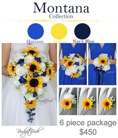 Horizon Davids Bridal Wedding Flowers marine and navy blue sunflowers rustic bouquet with boutonniere and groomsmen