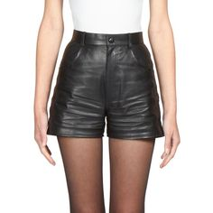 Saint Laurent Leather High-Waist Shorts ($2,390) ❤ liked on Polyvore