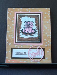 You Make Me Smile - Hot Off the Press Hogs & Kisses Stamp & Simon Says Stamp Smile die.