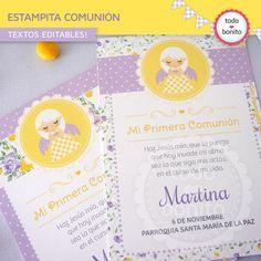 Estampita comunion amarillo y violeta para imprimir