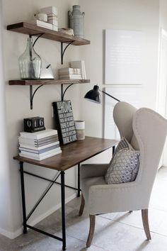 Home Decorating Ideas Small Office Desk In Rustic Glam Style Wingback Chair Simple Wood And Metal Frame Shelves With Black