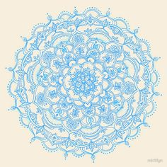 Pale Blue Pencil Pattern - hand drawn lace medallion by Micklyn