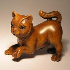 Wood Netsuke cat