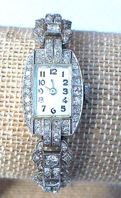 Vintage L.A. Leuba Platinum & 18K White Gold & Diamond Wristwatch #LALeuba