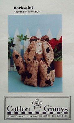 "craft sewing pattern - Barksalot by Cotton Ginny 8"" dog - Uncut- 2 patterns"