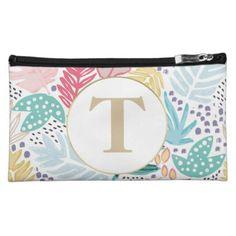 Colourful Custom Monogram Tropical Cosmetics Bag - monogram gifts unique design style monogrammed diy cyo customize