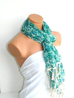 Mint TurquoiseMulticolor Scarf Turkish Fabric by WomanStyleStore, $19.90