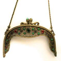 Antique Jewelled Purse Frame for Bag Handbag Made in Austria