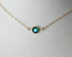 Emerald green crystal necklace gold filled chain by DelicacyJ