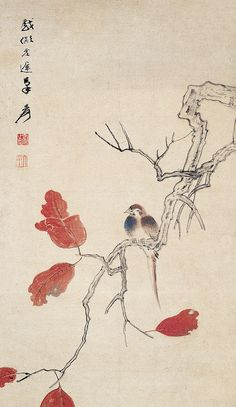 张大千 红叶小鸟 by China Online Museum - Chinese Art Galleries, via Flickr