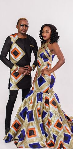 The most classic collection of beautiful traditional and ankara styles and designs for couples. These ankara styles collections are meant for beautiful African ankara couples Couples African Outfits, Couple Outfits, African Attire, African Wear, African Women, African Shirts, African Print Dresses, African Fashion Dresses, African Dress