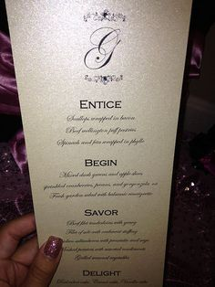 Make an impression with these shimmering menu cards for each guest place setting. We will add your own customized menu information as well as