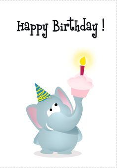 #Birthday #Card Free Elephant Printable