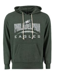 6bbb6e212 Men s Majestic Midnight Green Philadelphia Eagles First Down Tri-Blend  Pullover Hoodie
