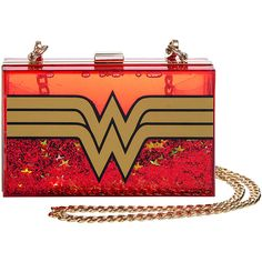 DC Comics Wonder Woman Glitter Perspex Clutch Bag (Red) (£43) ❤ liked on Polyvore featuring bags, handbags, clutches, acrylic purse, acrylic clutches, lucite handbags, glitter clutches and red handbags