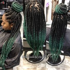 "49 Likes, 5 Comments - Tianna Bradford (@tiannadcheybeauty) on Instagram: ""These aqua ombré box braids though  #Flint #detroit #boxbraids #ombrebraids #detroitboxbraids…"""