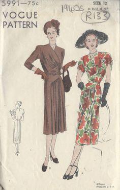 1940s-Vintage-VOGUE-Sewing-Pattern-B30-DRESS-R133