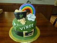 St. Patricks Day/1st Birthday Cake - Hat with Pot of Gold and Rainbow. Inside of cake is rainbow too