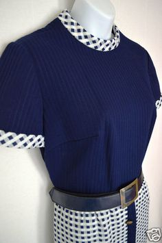 $34.99 - VINTAGE Navy Blue & White Checkered Dress Fauxe 2-piece Belt Mod UK Hipster M