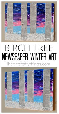 Create a beautiful Birch Tree winter art project with an art canvas, newspaper and Elmer's glue products. A great art project for kids to make during the winter months that they can display in their home. [Sponsored]