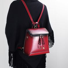 cdc560669a0a Genuine leather backpack shoulder bag messenger bag leather crossbody bag  in red 14065 Leather Backpack Purse