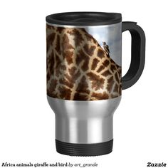 Africa animals giraffe and bird travel mug