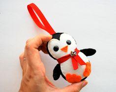 Black baby Penguin Christmas Ornament, Eco-friendly Felt Christmas Ornament A413. $10.50, via Etsy.