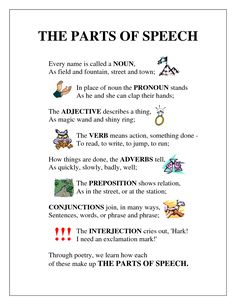 Parts of Speech Poem (english grammar parts of speech) Parts Of Speech Exercises, Parts Of Speech Poem, 8 Parts Of Speech Activities, Parts Of Speech Worksheets, English Activities, Teaching Grammar, Grammar Lessons, Teaching Writing, Esl Lessons