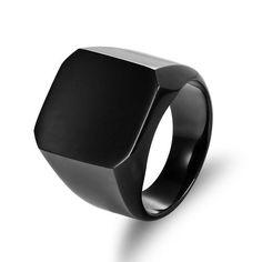 Biker Signet Stainless Steel Men's Ring