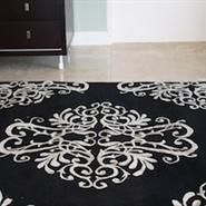 Marvelous Hand Crafted Damask Rug, Black And Cream, New Zealand Wool With Art Silk