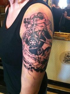 What does video game tattoo mean? We have video game tattoo ideas, designs, symbolism and we explain the meaning behind the tattoo. Body Art Tattoos, I Tattoo, Sleeve Tattoos, Cool Tattoos, Awesome Tattoos, Video Game Tattoos, Tattoo Videos, Fallout Tattoo, Gaming Tattoo