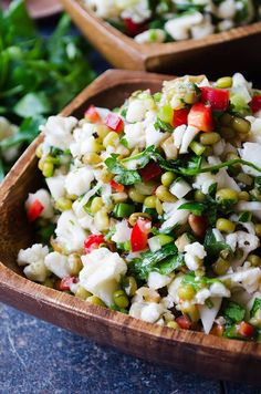 Tangy Raw Cauliflower Salad | giverecipe.com | #cauliflower #salad #mungbeans