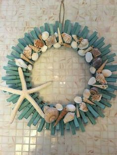 Crazy Diy Projects To Reuse Clothespins - Worth Trying DIY Projects Source by. - Crazy Diy Projects To Reuse Clothespins – Worth Trying DIY Projects Source by pin crafts Source by BonitaReichelFashion - Seashell Art, Seashell Crafts, Beach Crafts, Summer Crafts, Fun Crafts, Seashell Wreath, Seashell Projects, Nautical Wreath, Coastal Wreath