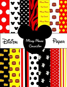 Printable MICKEY MOUSE Digital Paper  by SoSweetCandyBuffets, $3.25