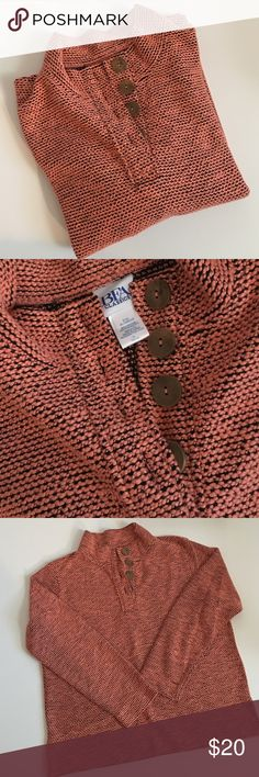 """Long Sleeve Sweater with Buttons This sweater is a beautiful orange-y color and has wood buttons on the front. It is branded BFA Classics size large. It is a perfect weight for cooler days and great with jeans or casual pants. It is 55% cotton and 45% polyester. Machine wash cold and tumble dry low are the care instructions. Bust: 23"""" laying flat, Length: 24"""". BFA Classics Sweaters"""