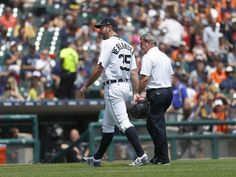 Tigers hopeful Verlander's groin injury isn't 'anything major'  -  June 4, 2017:     Tigers pitcher Justin Verlander, left, leaves the game with trainer Kevin Rand against the White Sox in the third inning.  Paul Sancya, Associated Press